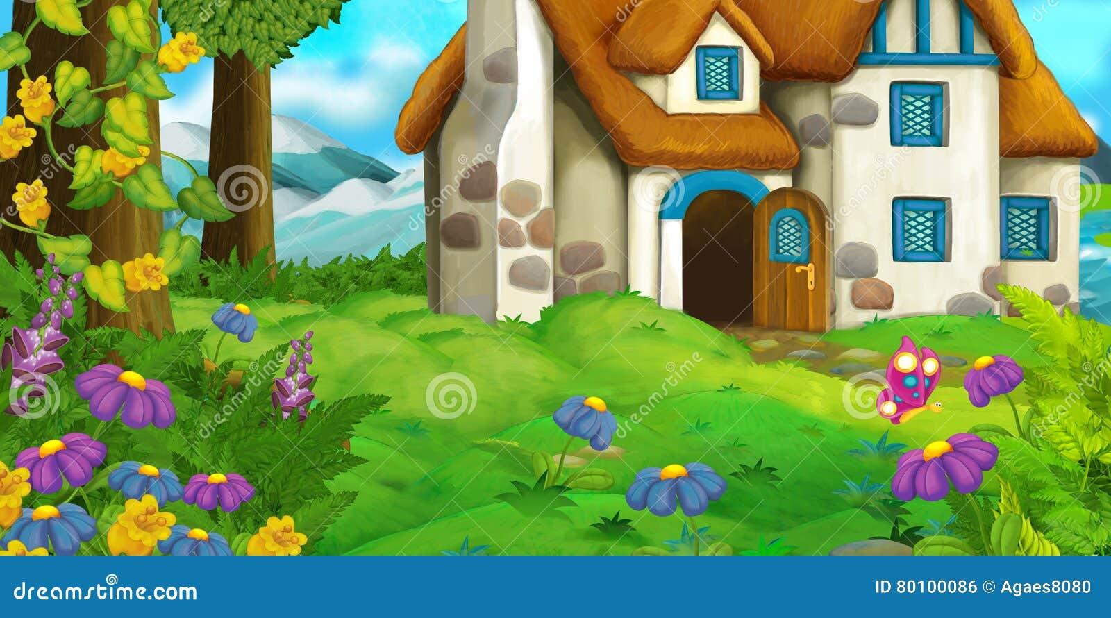 Fundo dos desenhos animados de uma casa velha no prado