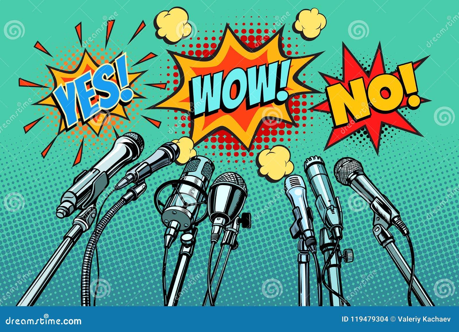 Fundo dos microfones da conferência de imprensa, sim nenhum uau