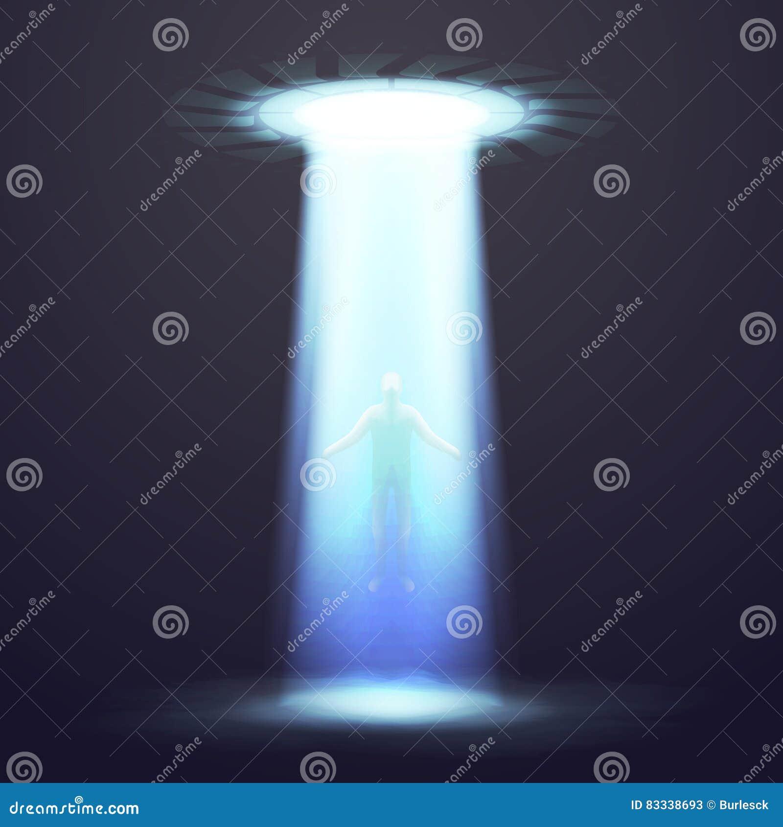 Fundo dramático do vetor do UFO com iluminação e ilustração do homem