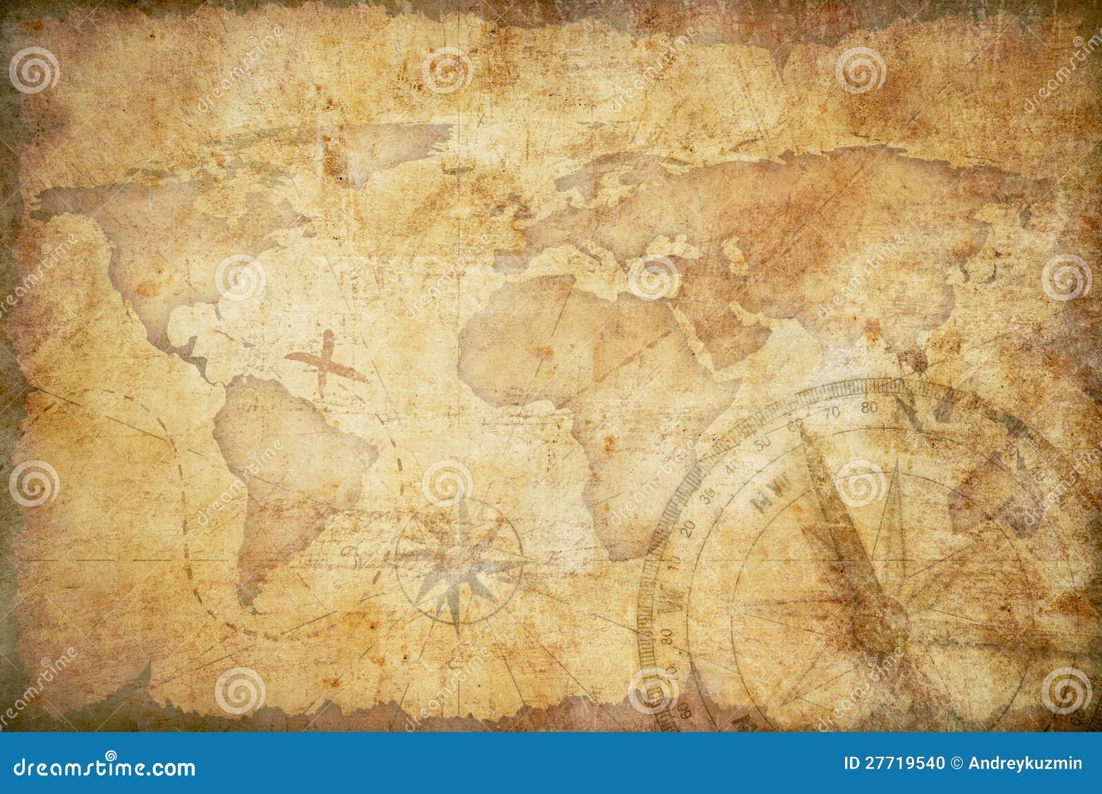 Fundo envelhecido do mapa do tesouro