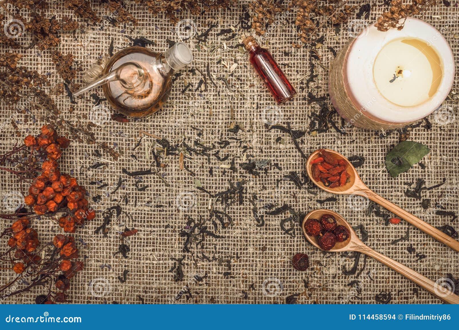 Fundo erval da medicina alternativa Ingredientes orgânicos