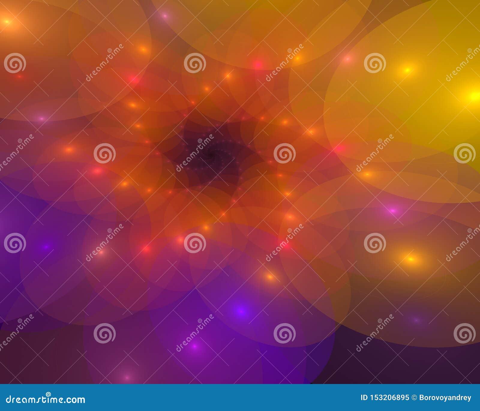 Fundo espiral abstrato com as peças de roda luminosas