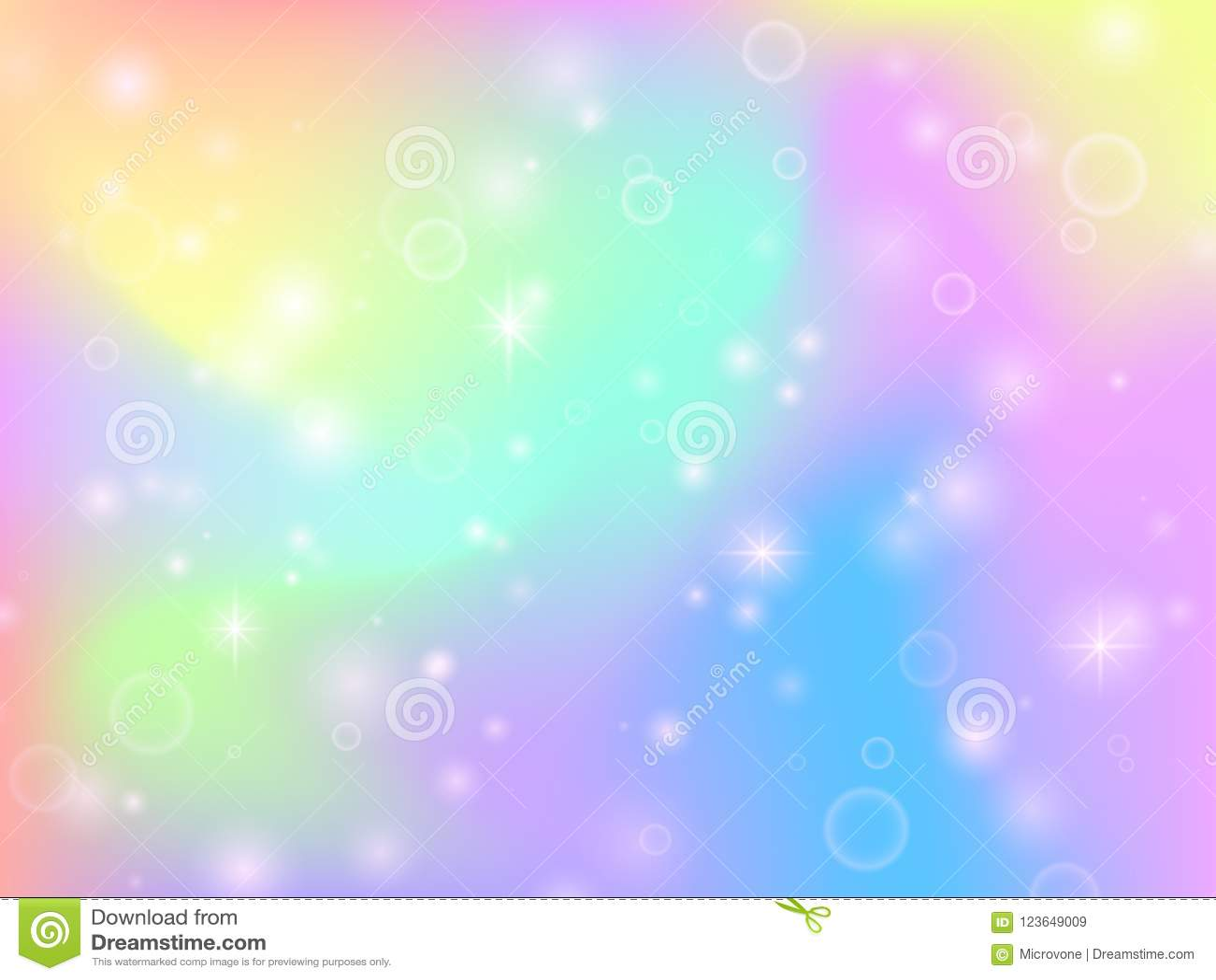 Fundo feericamente do arco-íris do unicórnio com sparkles e estrelas da mágica Contexto multicolorido do vetor do sumário da fant