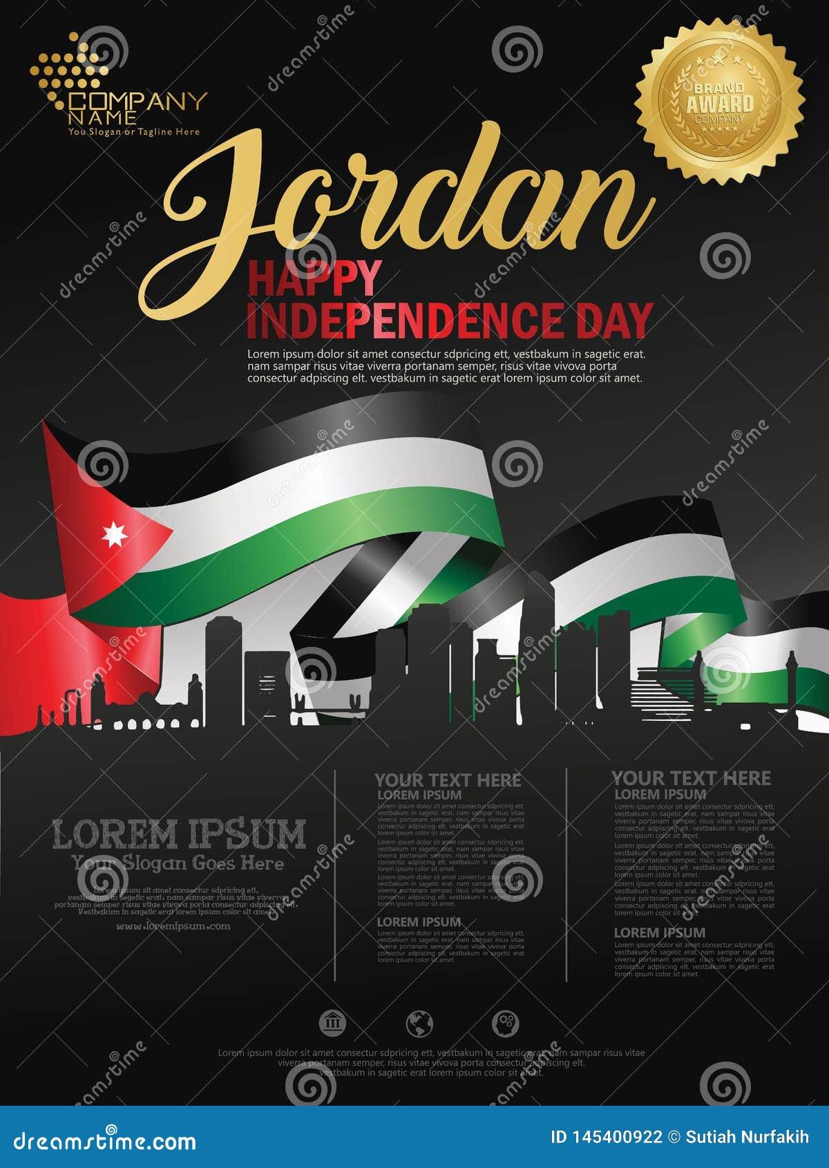 Fundo feliz do Dia da Independência de Jordânia com a cidade de ondulação da bandeira e da silhueta de Jordão com direitos d