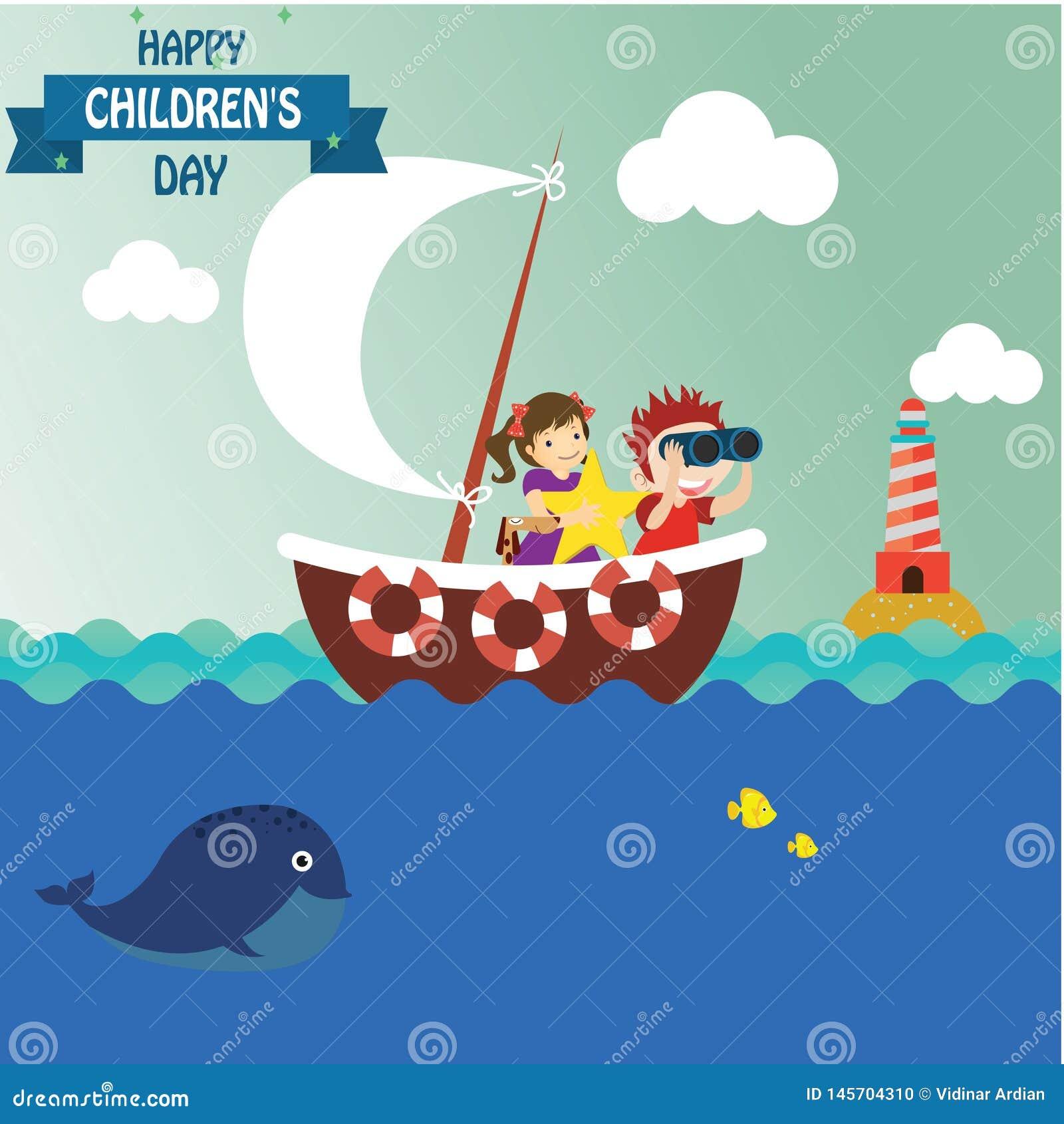 Fundo feliz do dia das crian?as Ilustra??o do vetor do cartaz universal do dia das crian?as ano novo feliz 2007 liso Frame redond