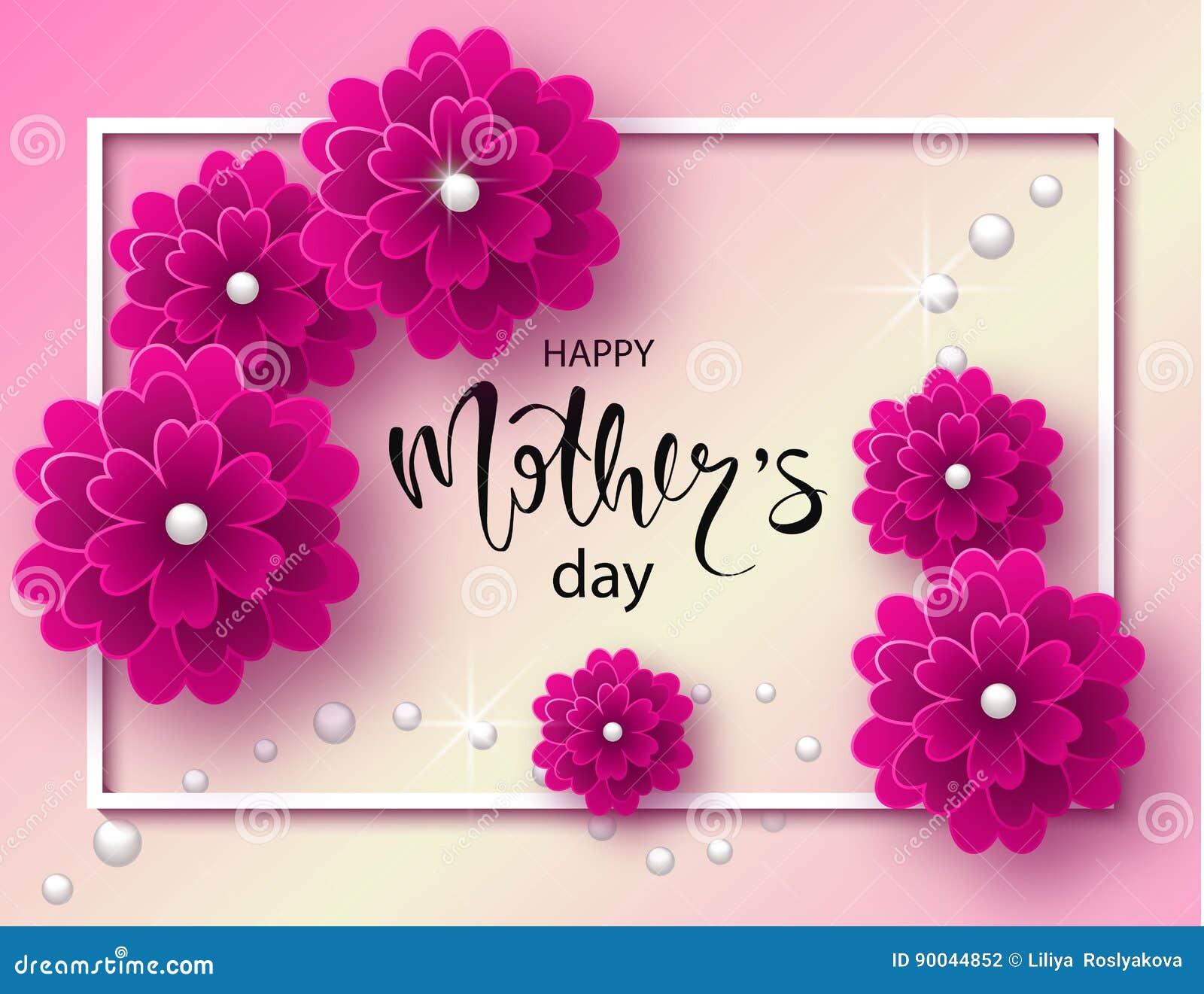 Fundo Feliz Do Dia De Maes Com Flores E Os Granulos Bonitos Cartao