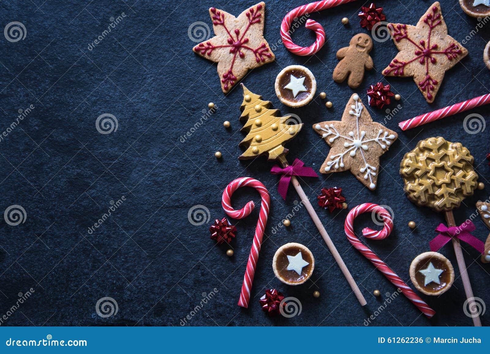 Fundo festivo do alimento dos doces do Natal