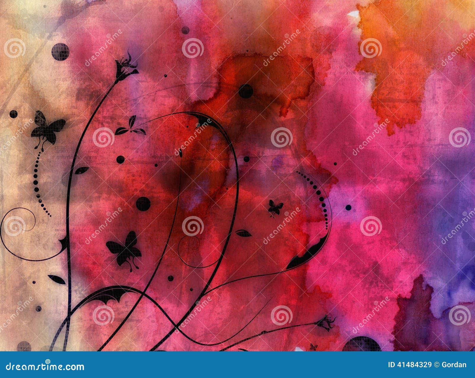 Fundo floral abstrato do Grunge - colagem