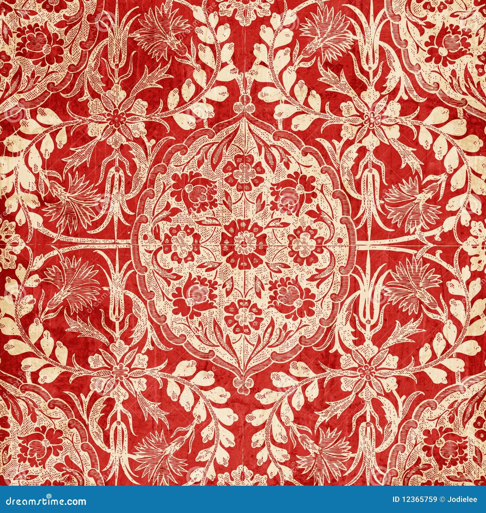 Fundo floral antigo vermelho do damasco