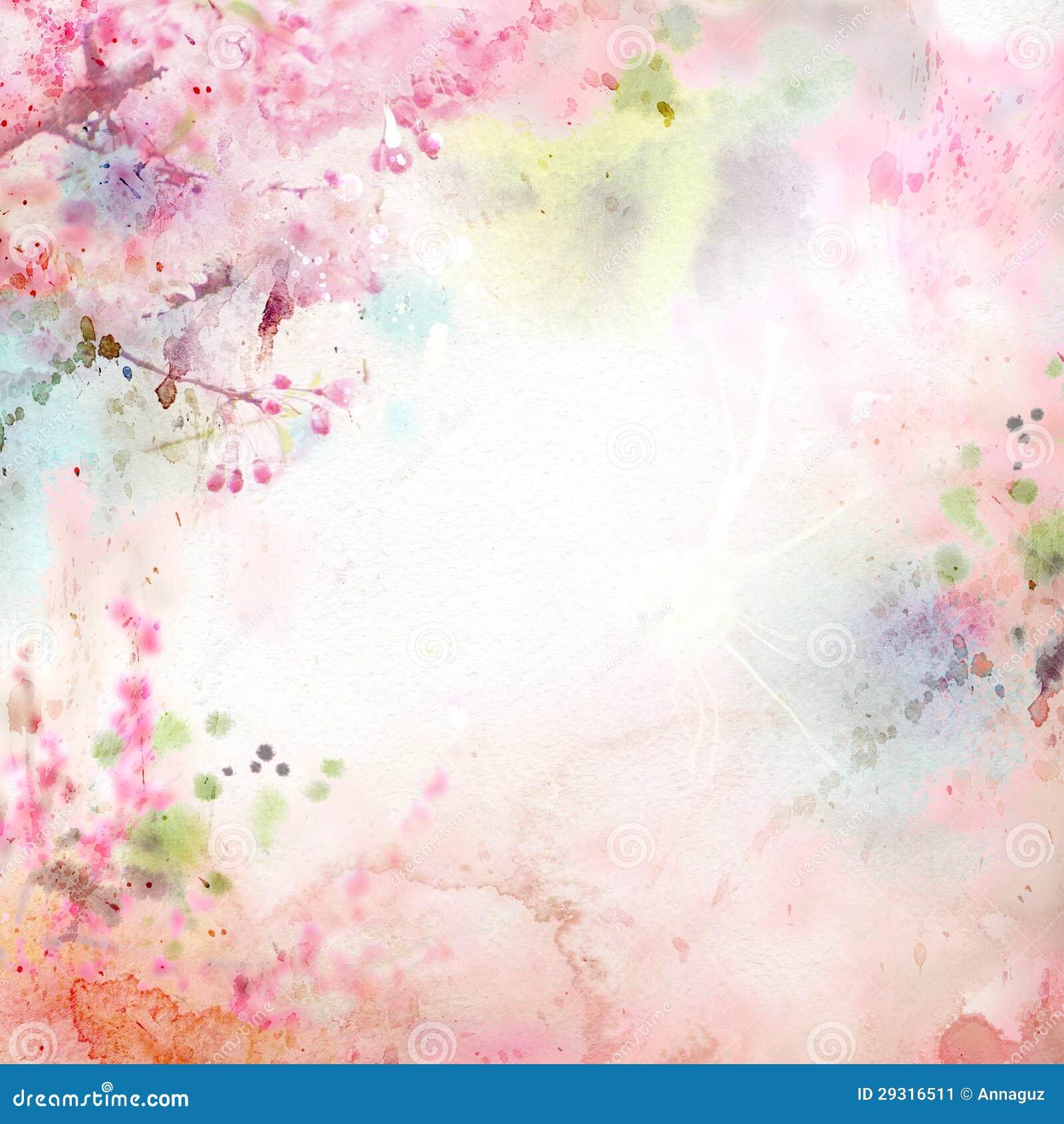 Fundo floral com aguarela sakura