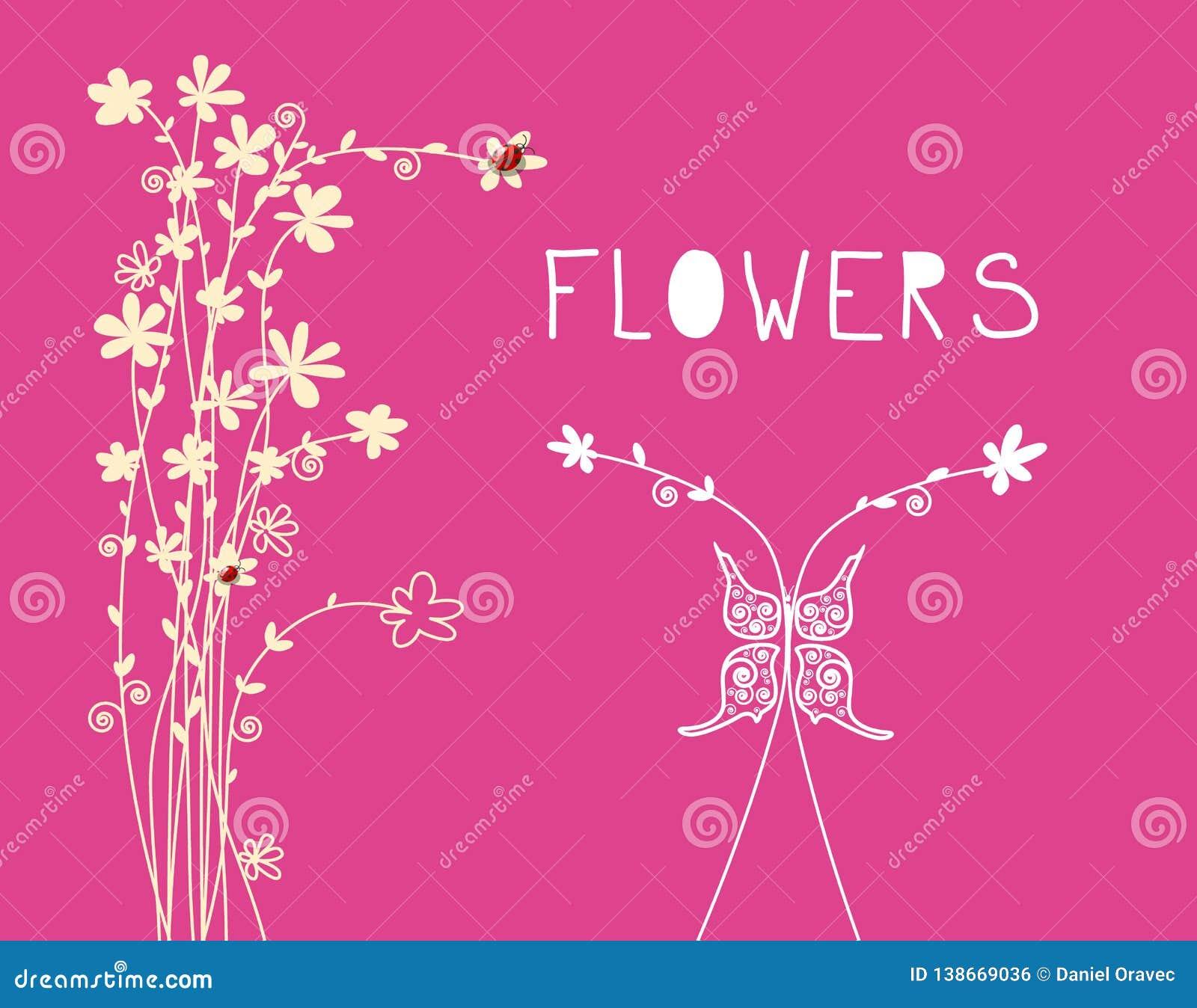 Fundo floral com ornamento e borboleta da flor As flores da mola do vetor projetam a ilustração