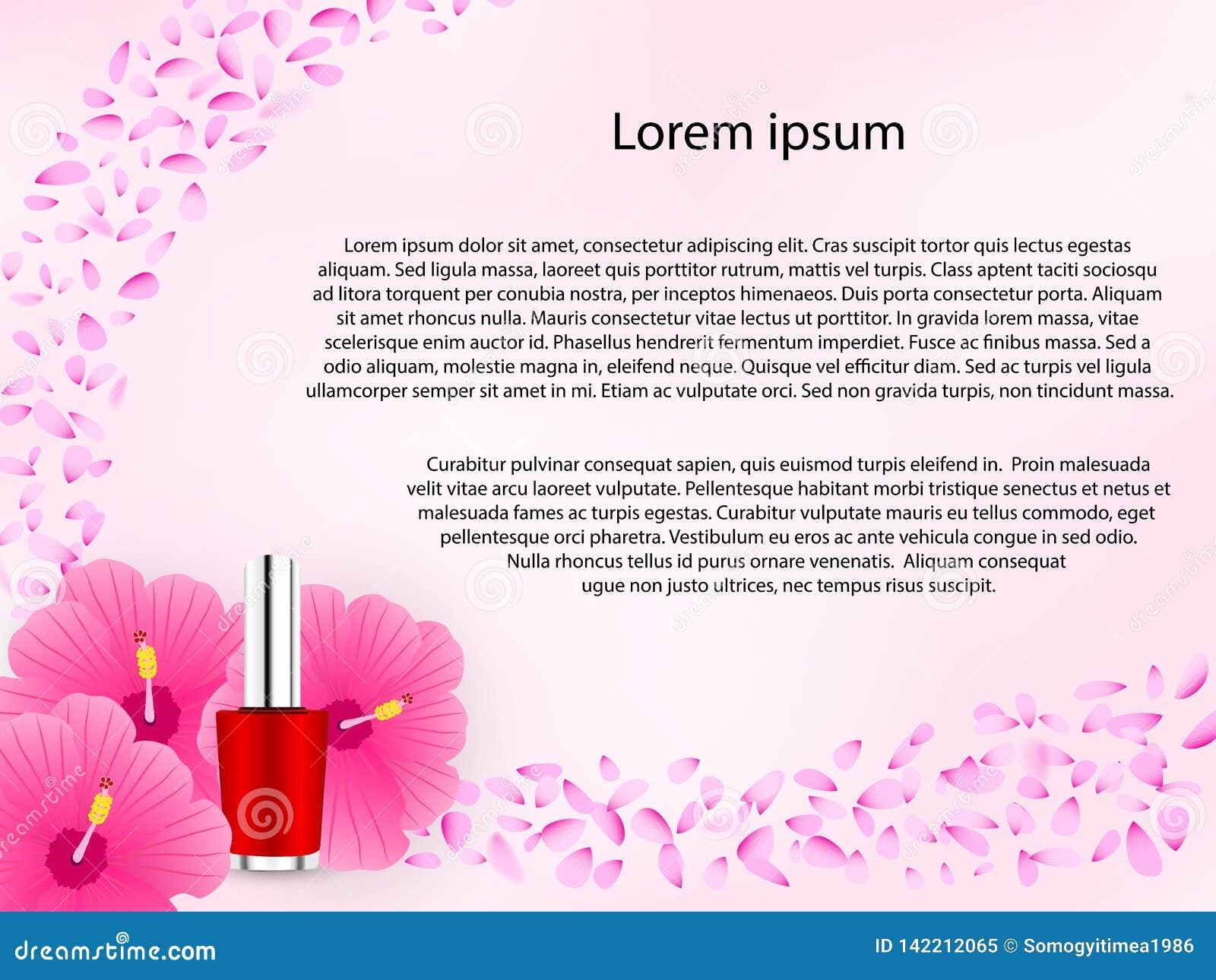 Fundo floral cosmético na cor cor-de-rosa