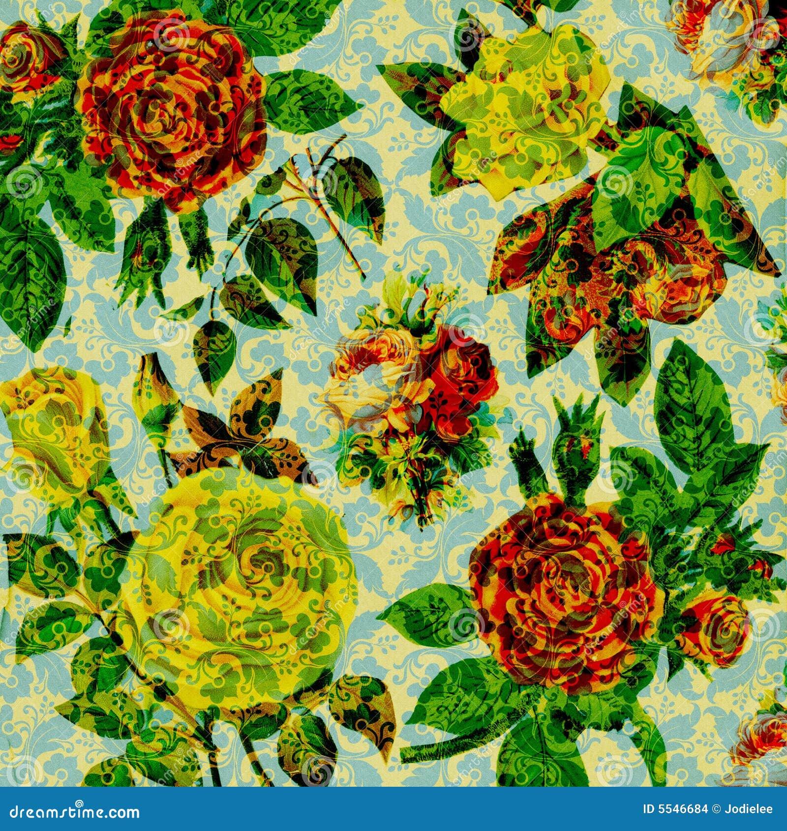 Fundo floral da colagem do vintage do Scrapbook