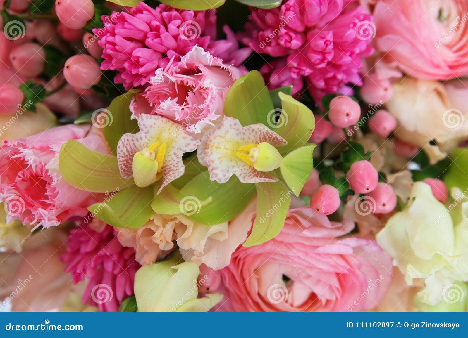 Fundo floral delicado com orquídeas