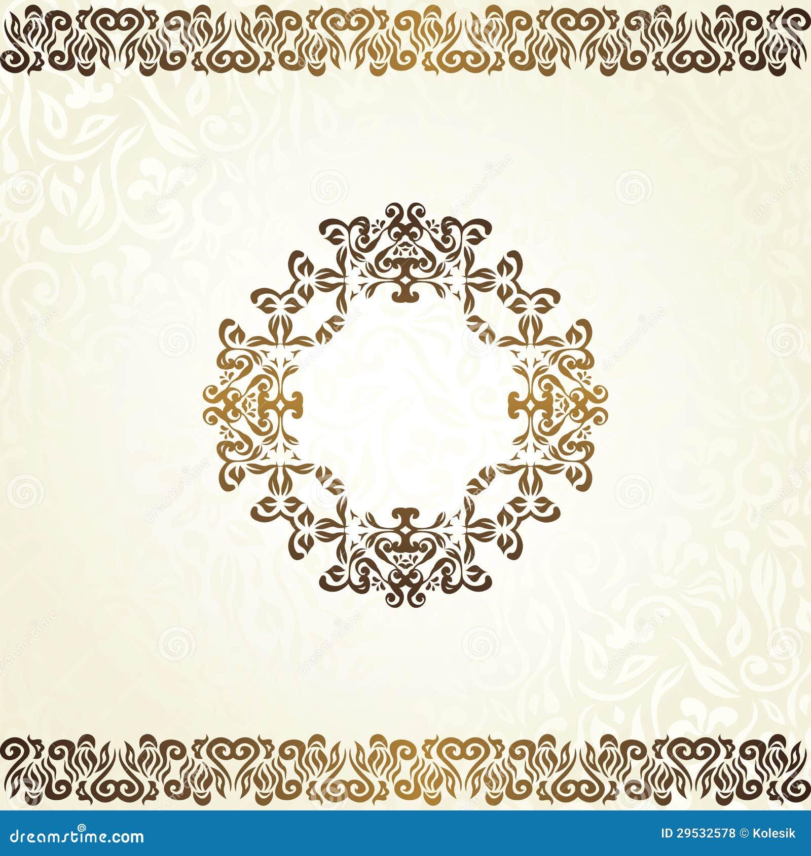 Fundo floral do vintage com quadro no ouro