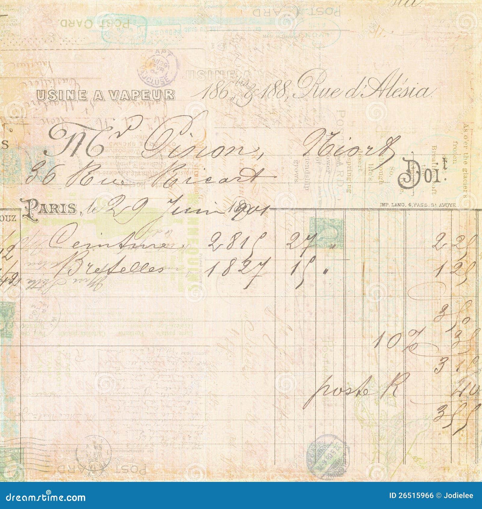 Fundo francês do certificado do recibo da factura do vintage