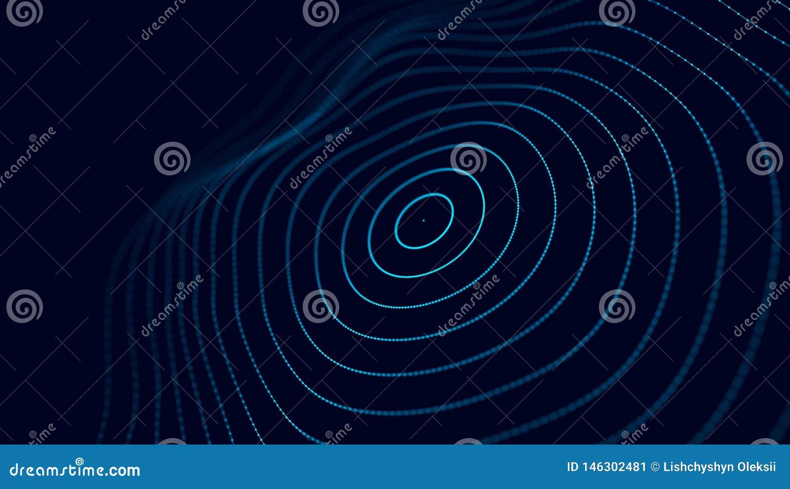 Fundo futurista abstrato Visualiza??o grande dos dados Fundo abstrato com uma onda din?mica rendi??o 3d