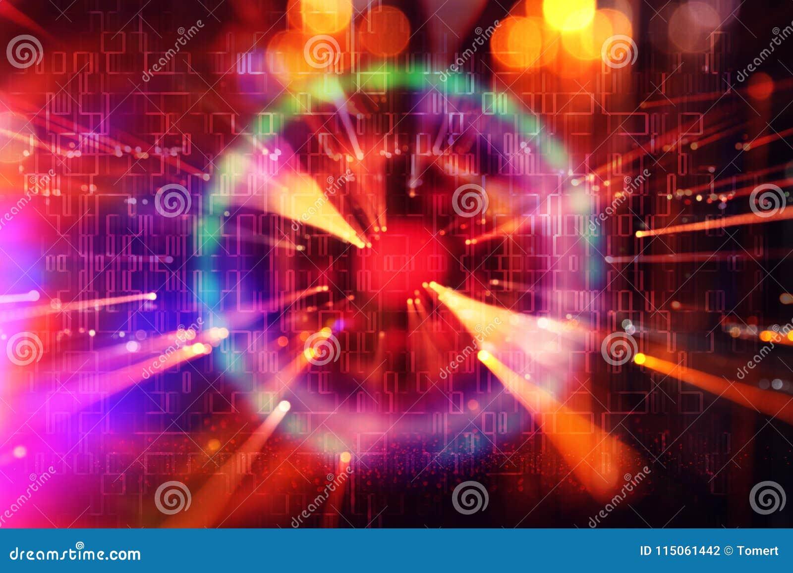 Fundo futurista da ficção científica abstrata Alargamento da lente imagem do conceito do curso do espaço ou do tempo sobre luzes