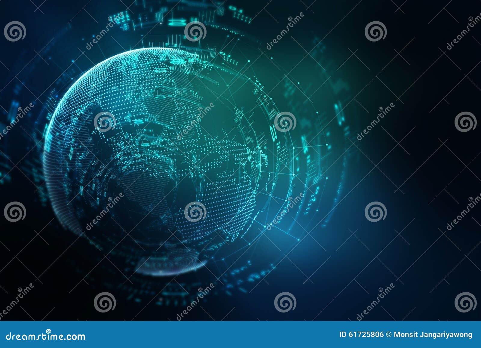 Fundo futurista do sumário da tecnologia da terra