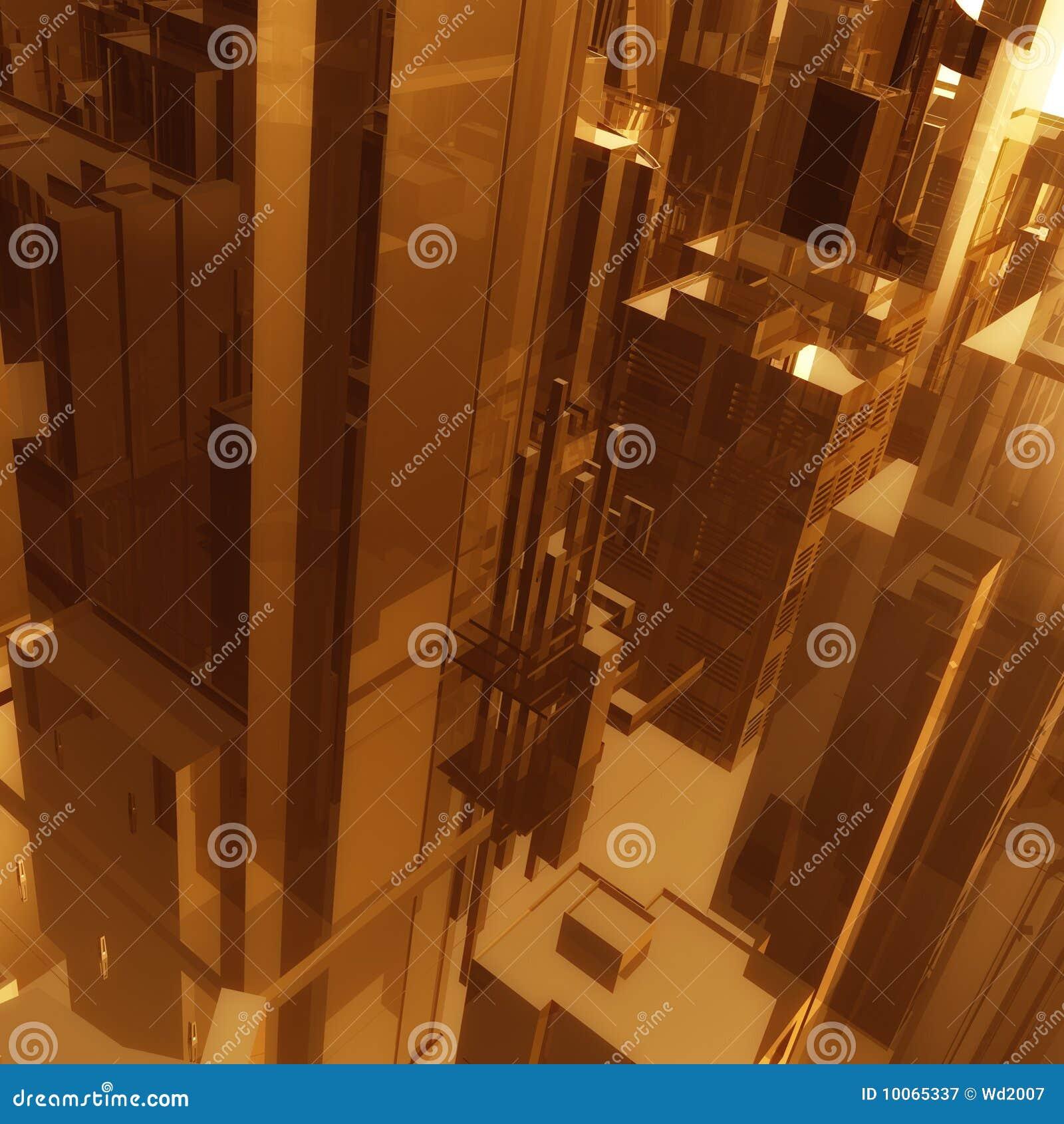Fundo futurista dos edifícios da cidade do ouro