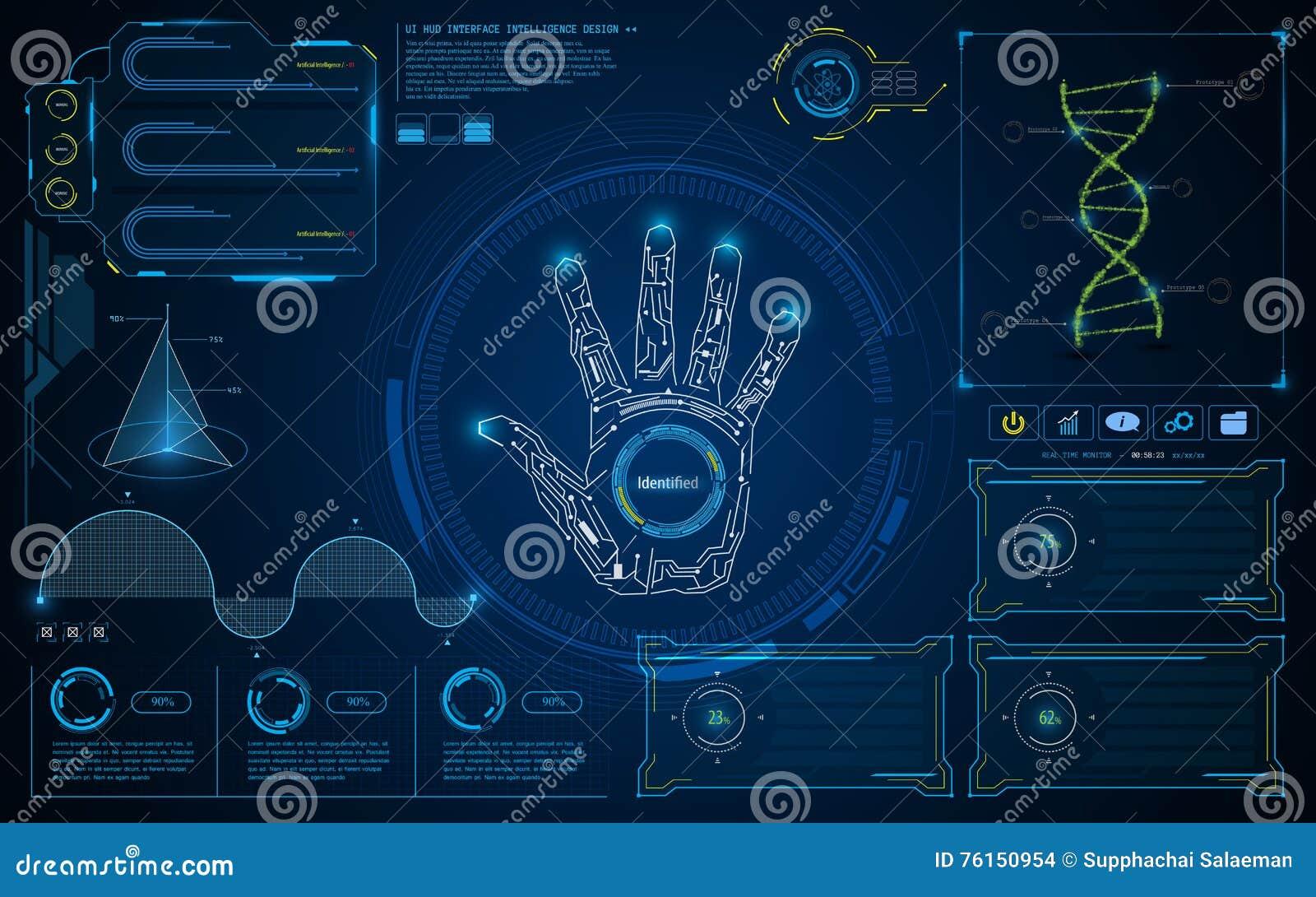 Fundo futuro do conceito da tela inteligente esperta abstrata da relação de UI HUD