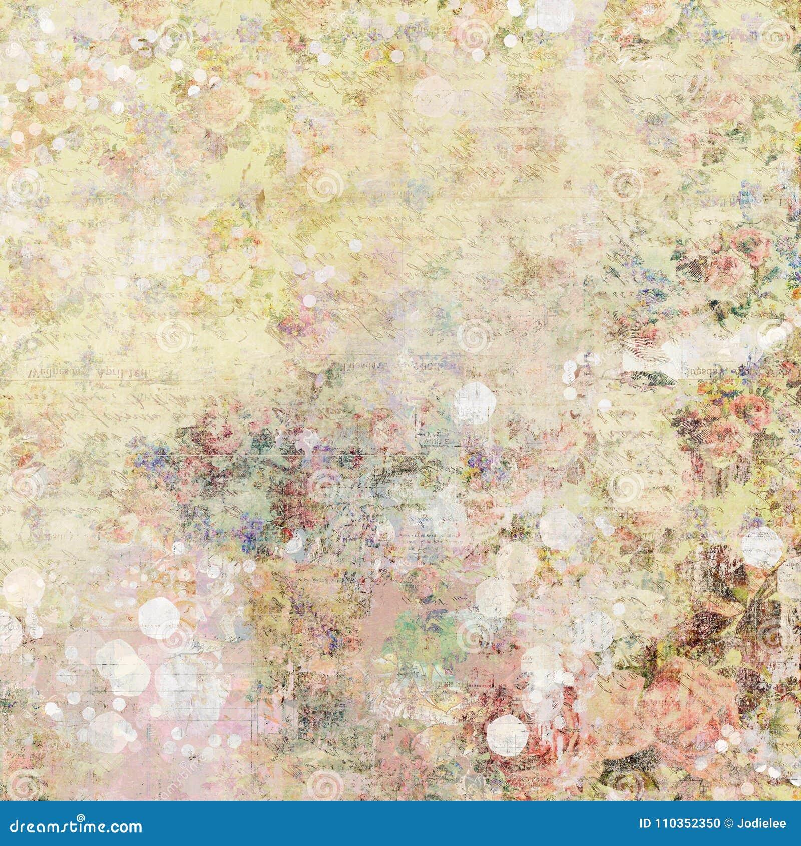 Fundo gráfico abstrato artístico chique gasto sujo do vintage antigo floral aciganado boêmio com rosas