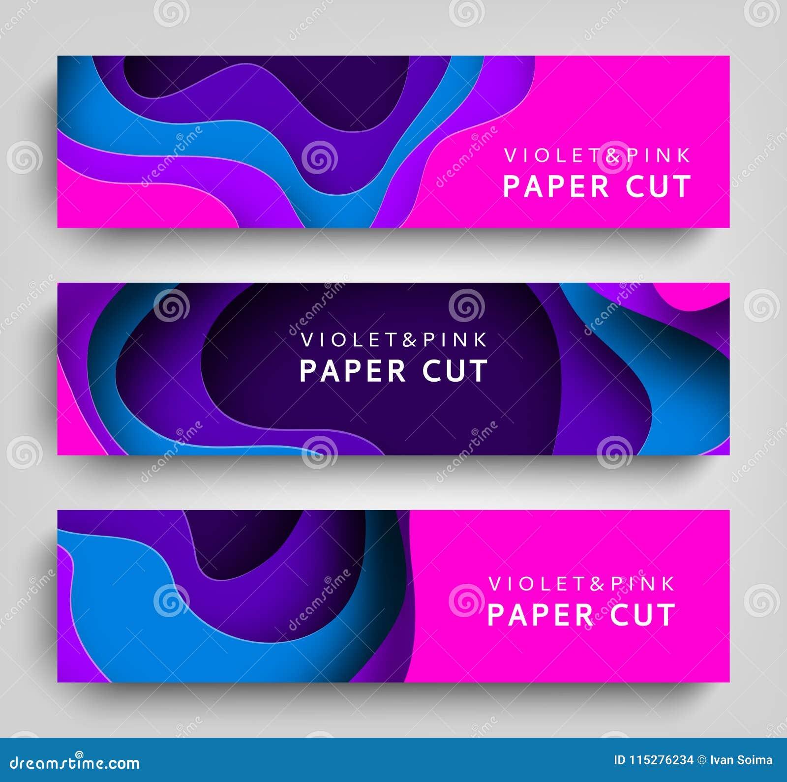Fundo horizontal ajustado do vetor das bandeiras do corte do papel A arte de papel é cores violetas e azuis Molde quadrado com pa