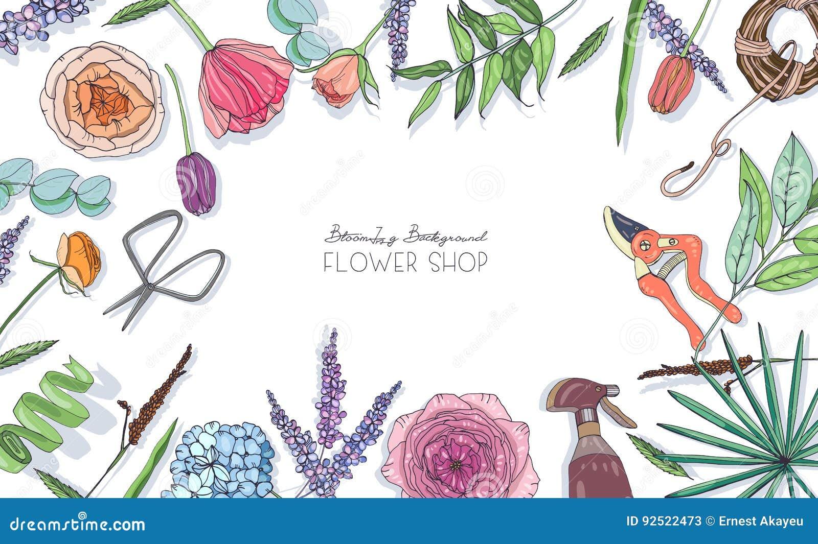 Fundo horizontal com as flores para anunciar, loja floral, salão de beleza Composição tirada mão com lugar para o texto