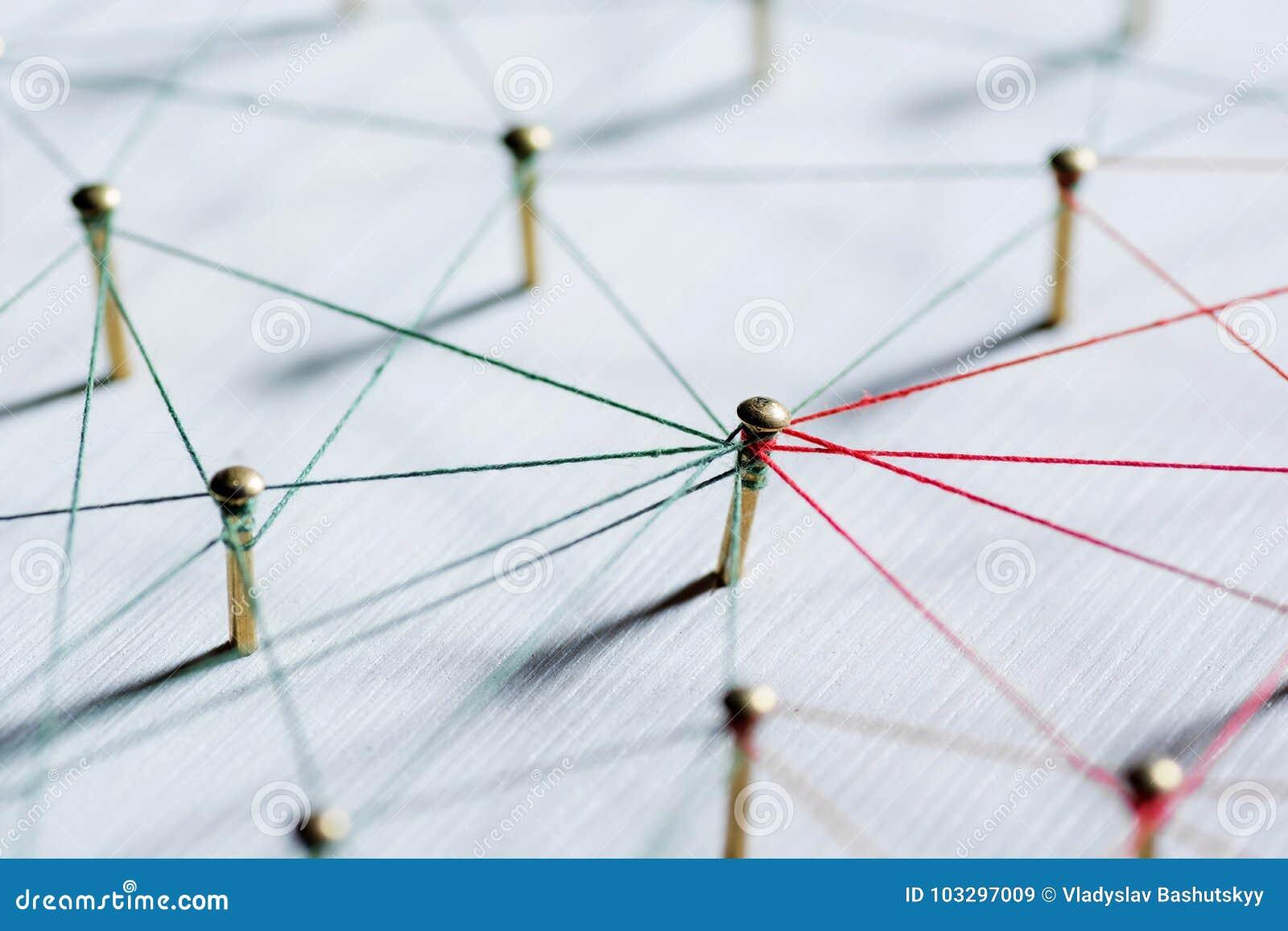 Fundo Ideia abstrata do conceito da rede, meio social, Internet, trabalhos de equipa, uma comunicação Percevejos ligados