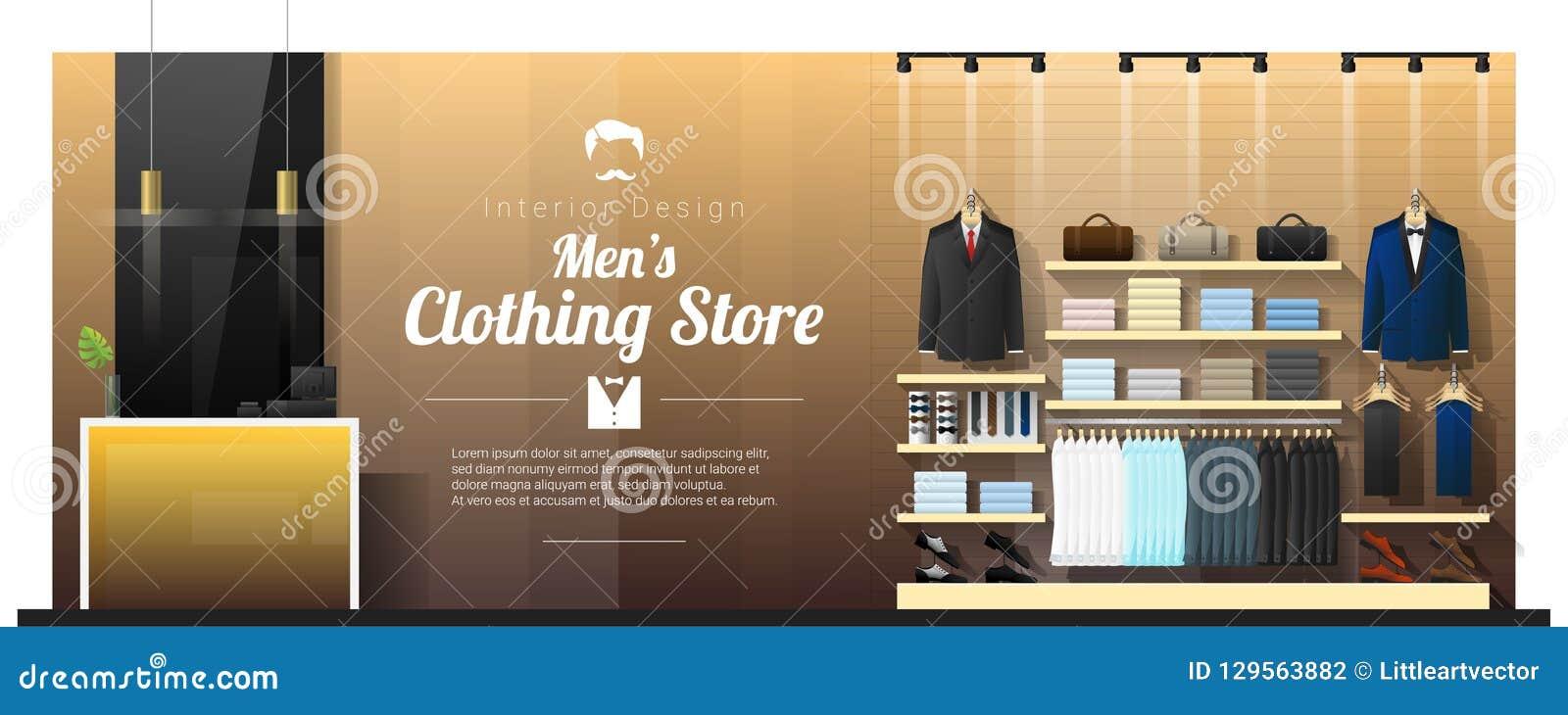 Fundo interior da loja de roupa luxuosa dos homens
