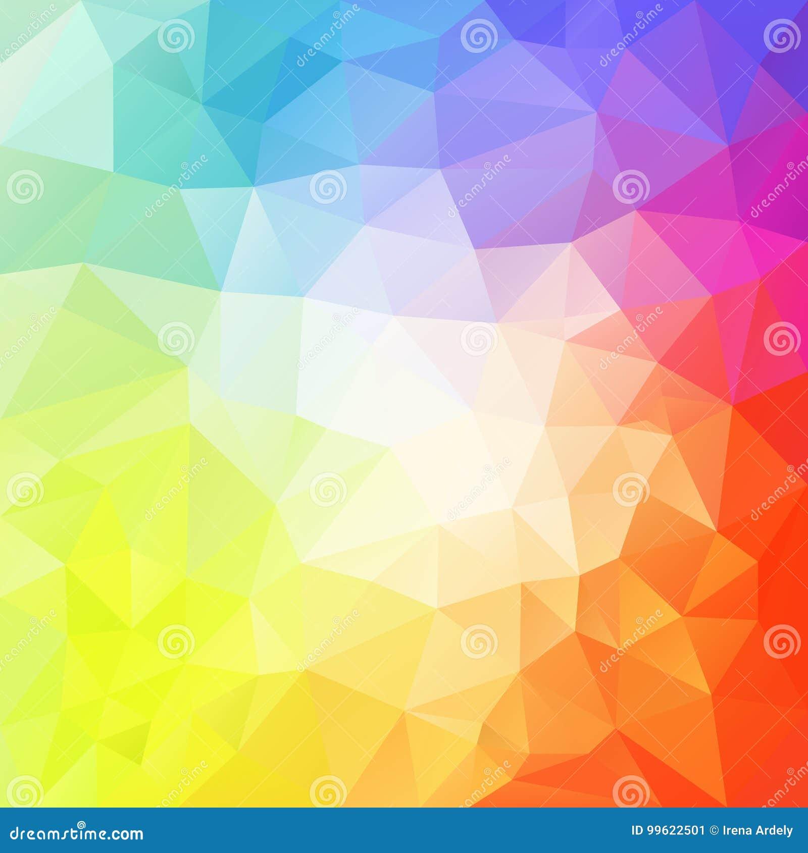Fundo irregular abstrato do polígono com um teste padrão do triângulo no espectro de cor completa pastel claro com reflexão no MI