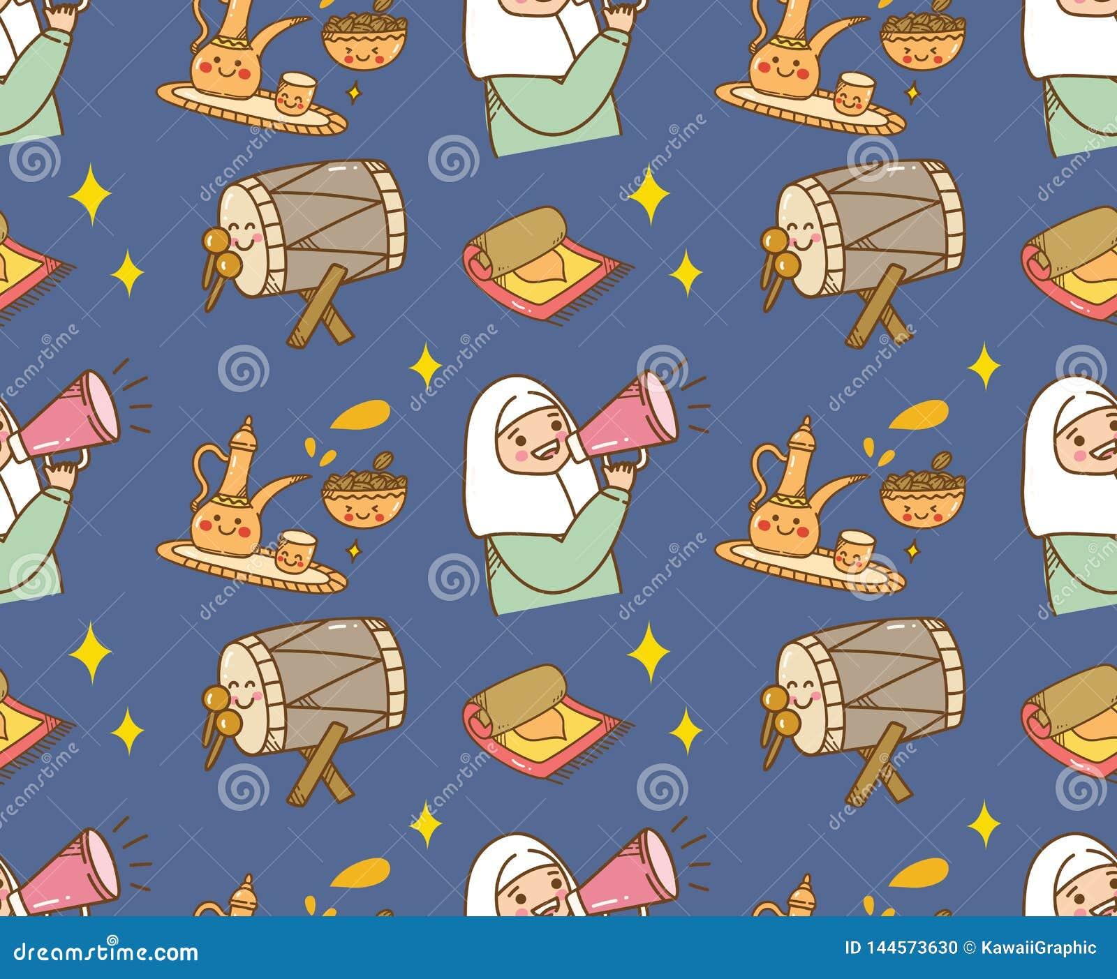 Fundo islâmico da garatuja dos desenhos animados para o fitr do al de Eid ou a celebração de ramadan