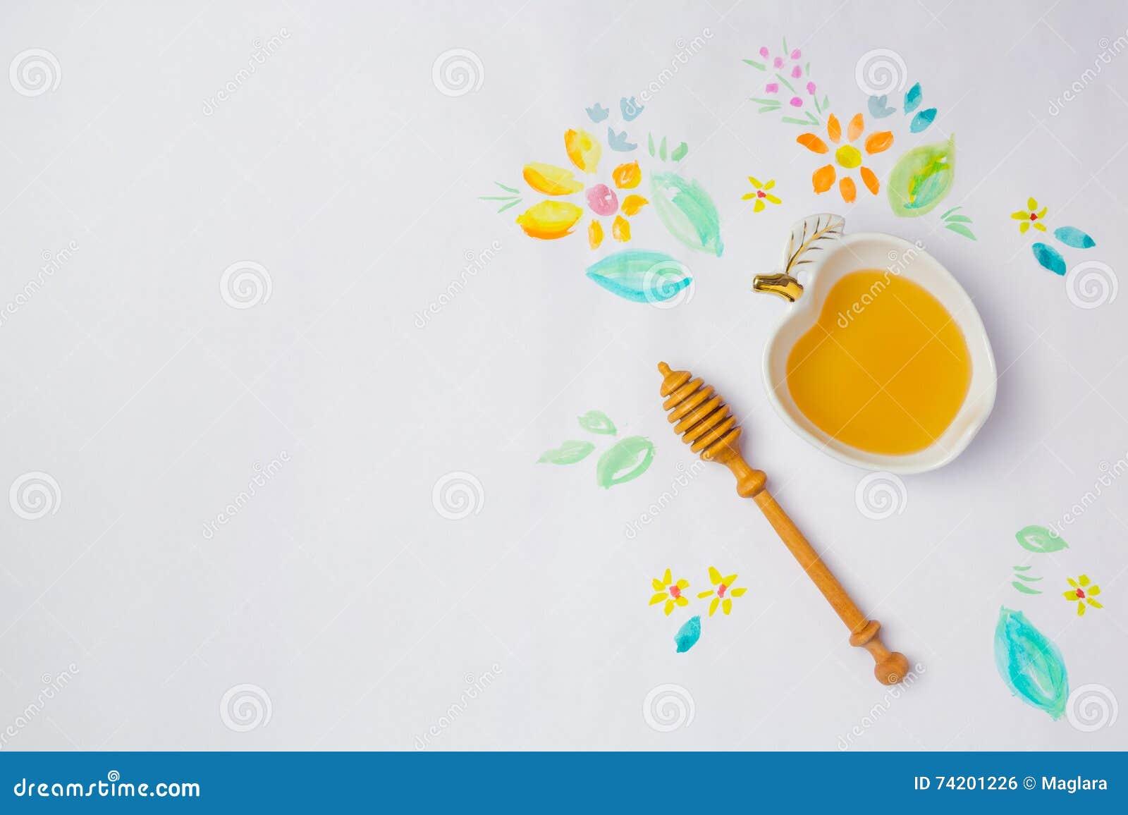 Fundo judaico de Rosh Hashana do feriado com os desenhos do mel e da aquarela Vista de acima