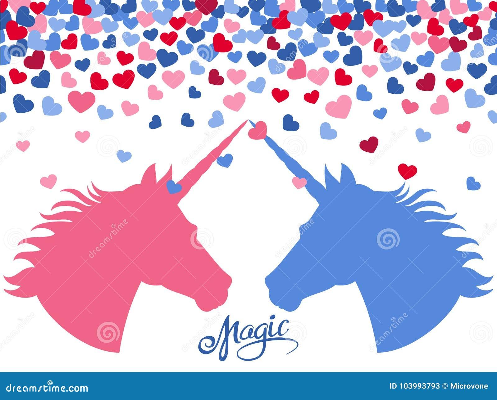 Fundo mágico com corações de queda e dois unicórnios no amor