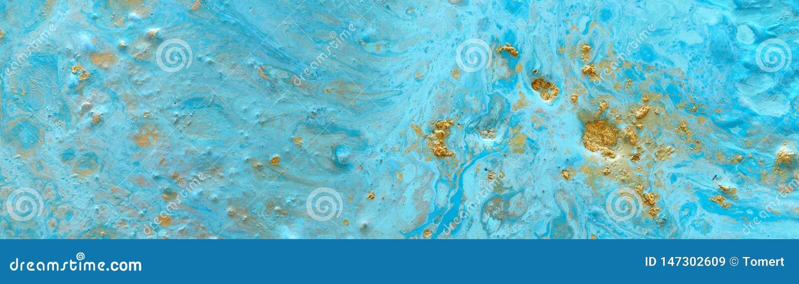 Fundo marbleized abstrato do efeito Cores criativas azuis Pintura bonita com a adi??o de ouro bandeira
