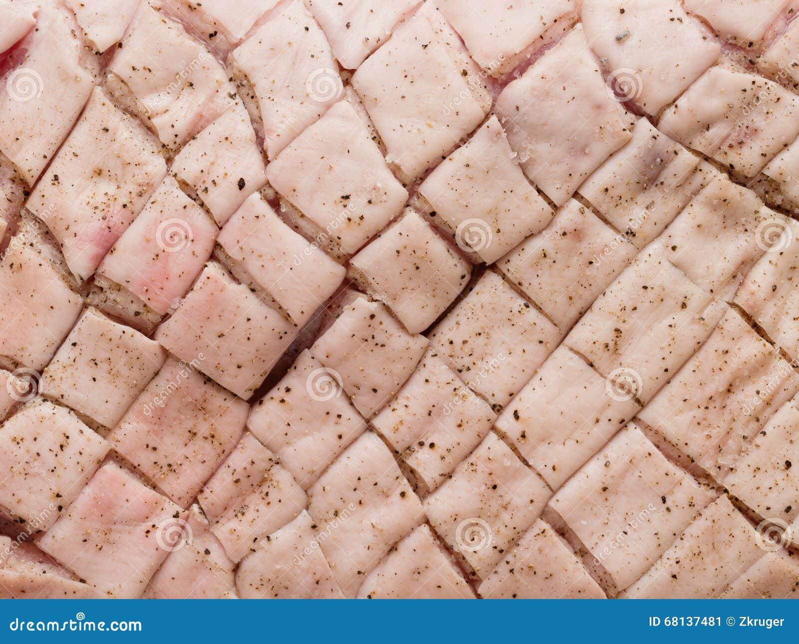Fundo marcado temperado cru cru da pele da barriga de carne de porco