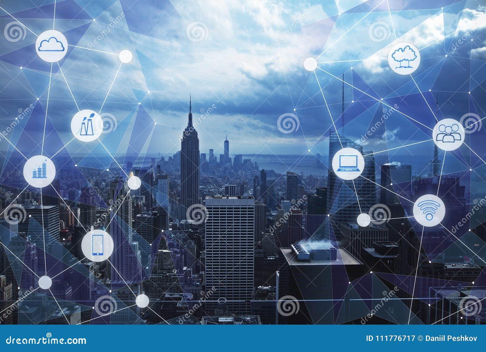 Fundo moderno da cidade da tecnologia
