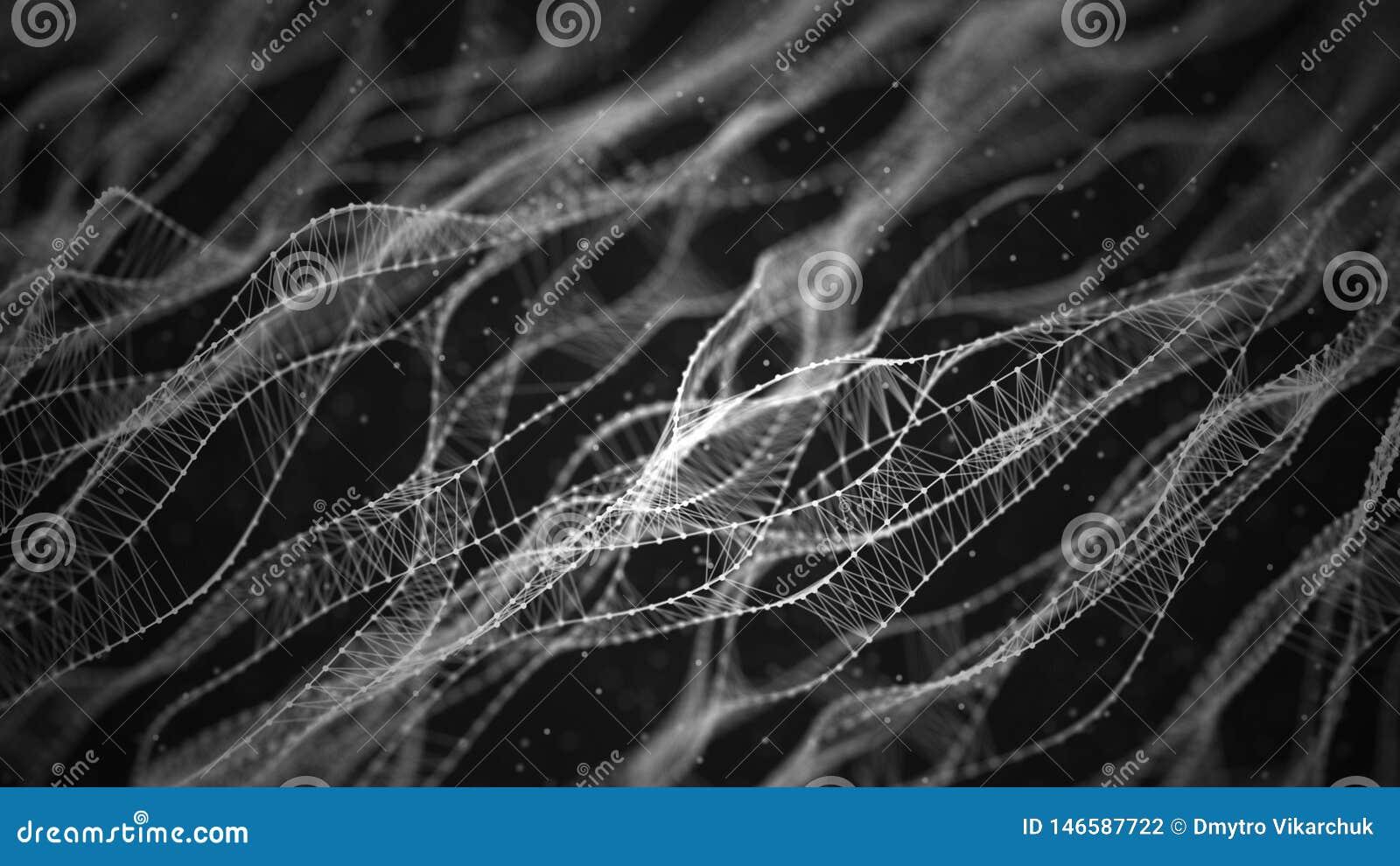 Fundo molecular com ADN Conceito da rede com pontos e linhas de conex?o Part?culas abstratas