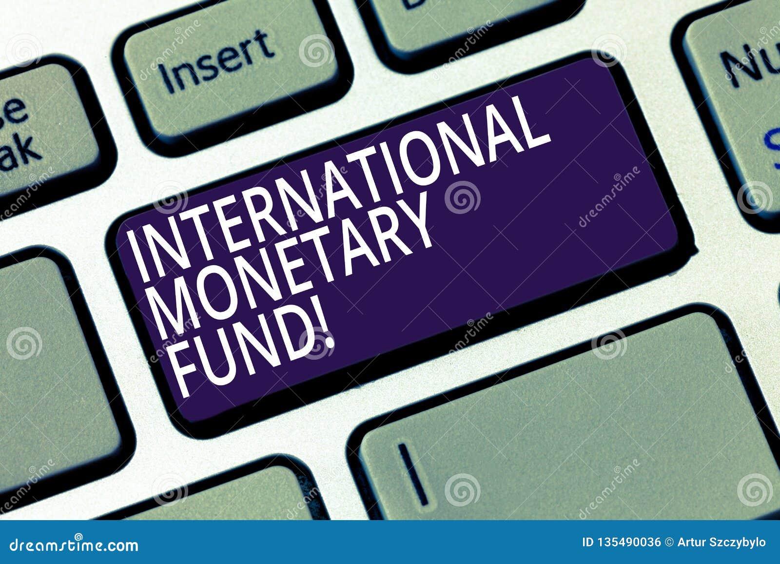 Fundo monetário internacional do texto da escrita da palavra O conceito do negócio para promove o teclado financeiro internaciona