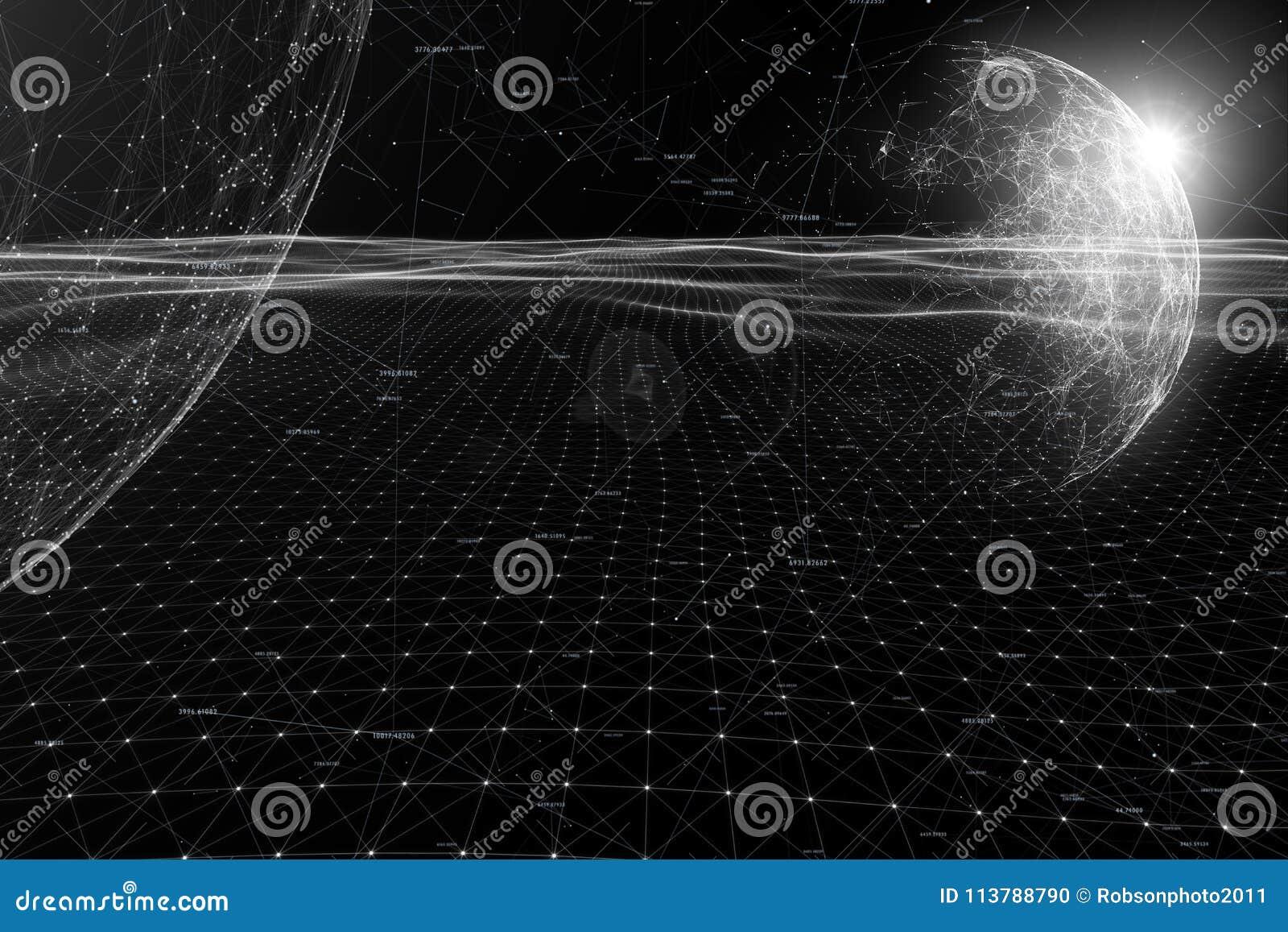 Fundo monocromático futurista do Cyberspace