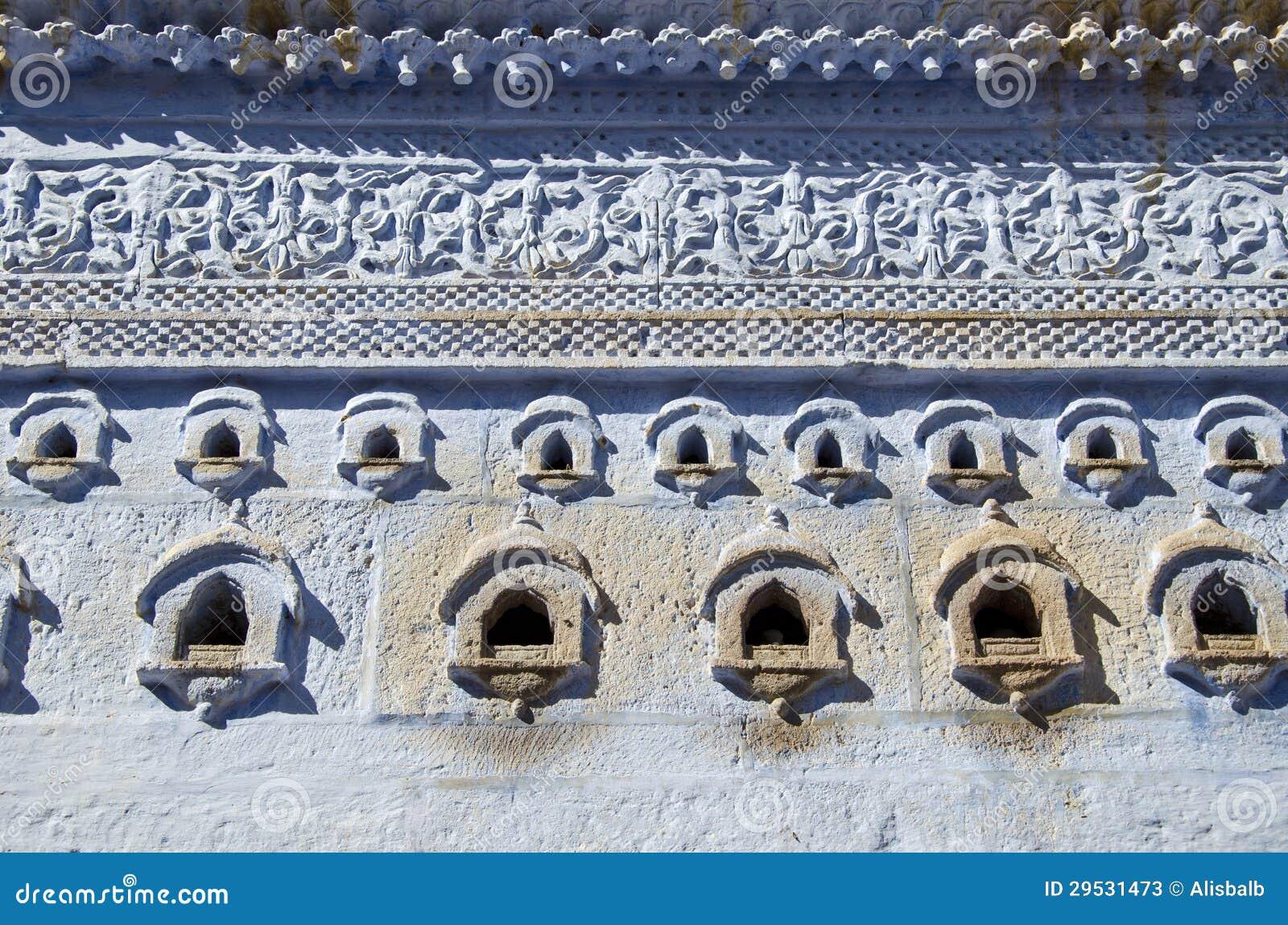 Fundo original e decorativo da parede em Jodhpur, India