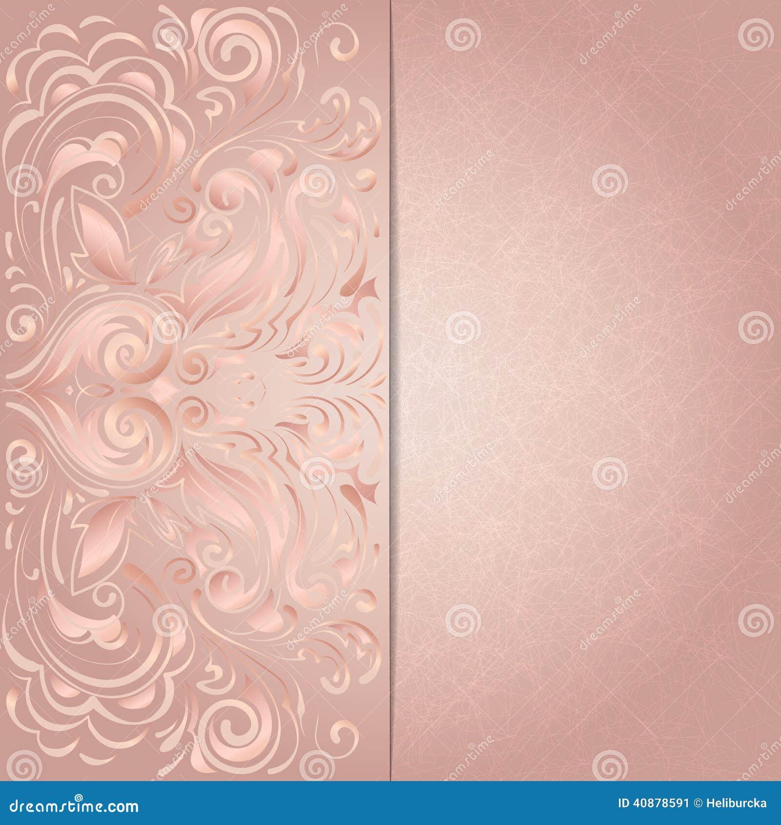 Fundo Para O Convite Com Teste Padrão Floral Cor De Rosa Ilustração