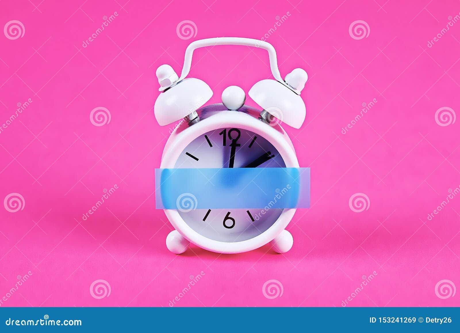 White Alarm Clock Pink Pastel Background. Blank Sticky ...