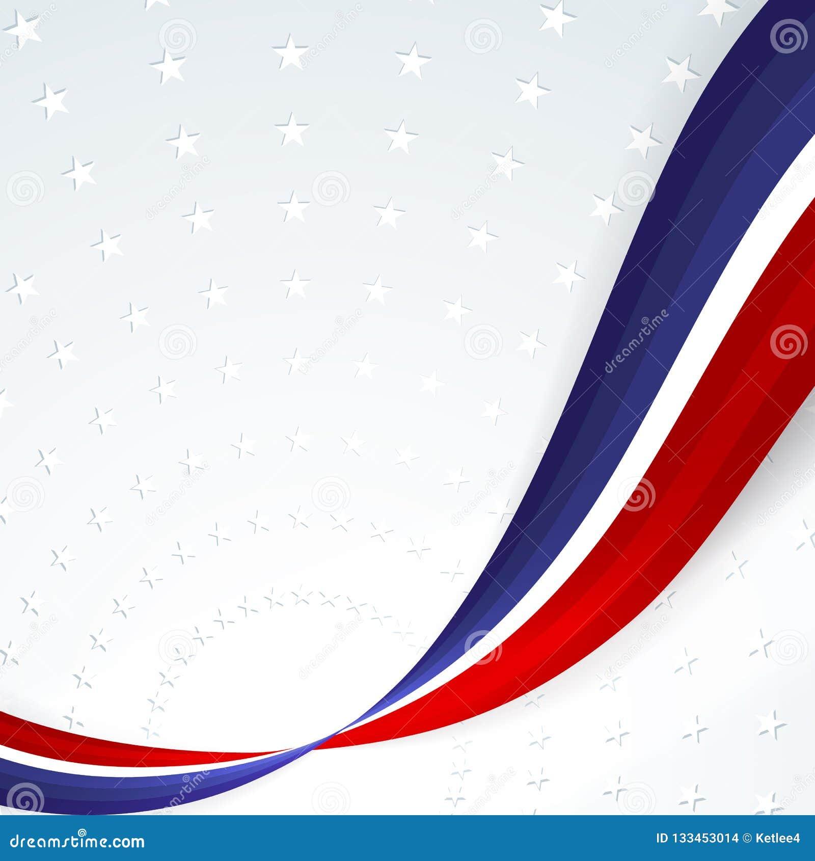Fundo patriótico das cores da bandeira nacional de linhas onduladas abstratas lisas dos EUA no fundo do teste padrão das estrelas