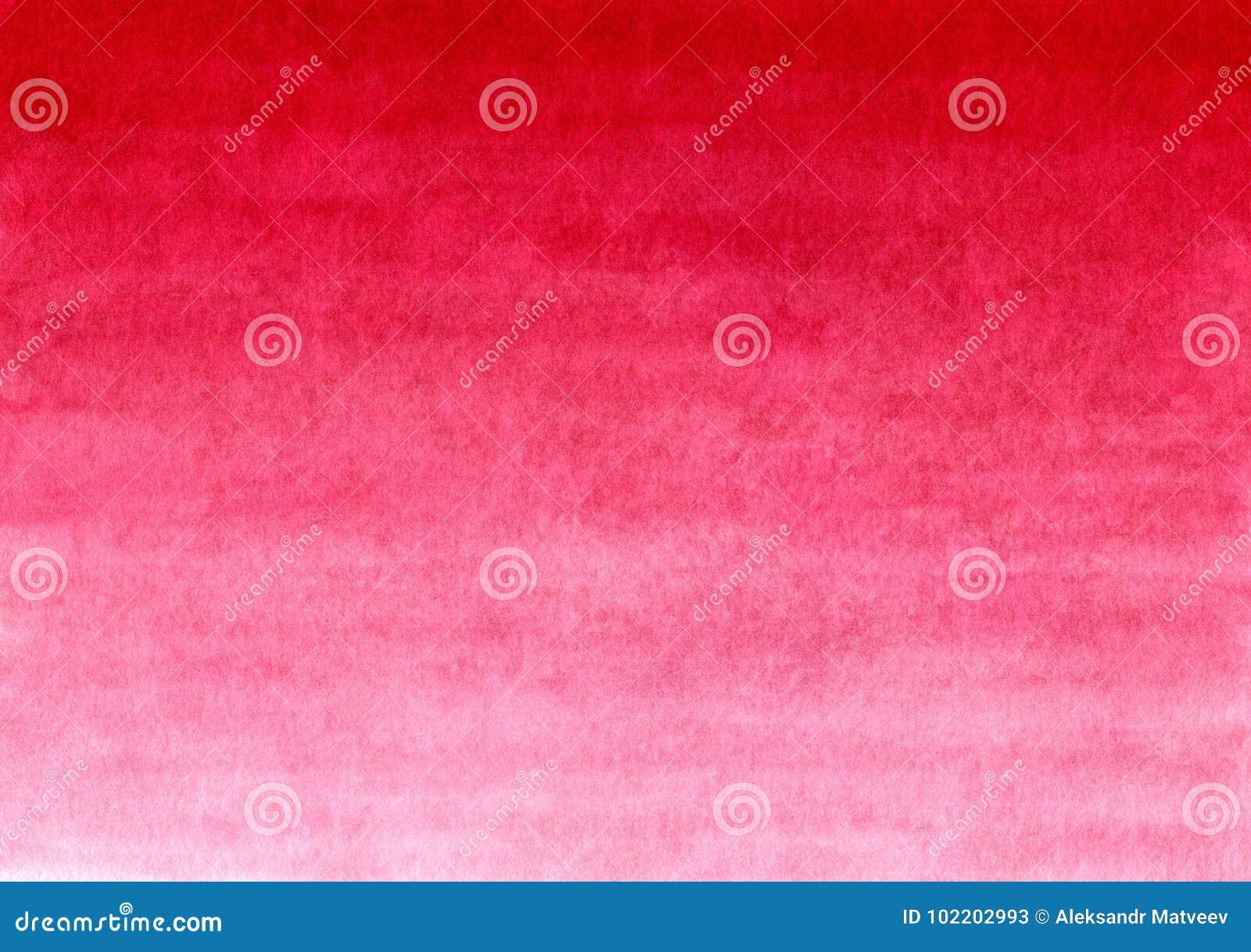 Fundo pintado feito a mão vermelho do inclinação da aquarela no papel textured
