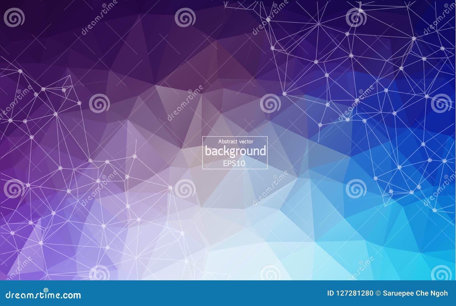Fundo poligonal multicolorido abstrato do espaço com pontos e linhas de conexão Estrutura da conexão Fundo da ciência do vetor Po