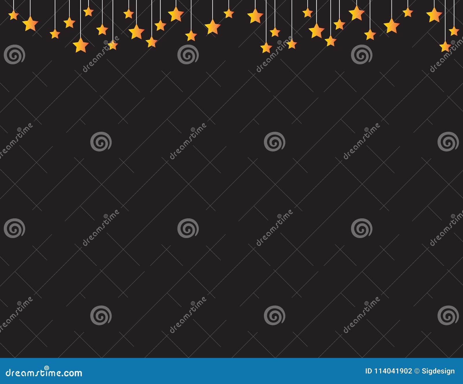 Fundo preto com as estrelas alaranjadas que penduram da parte superior