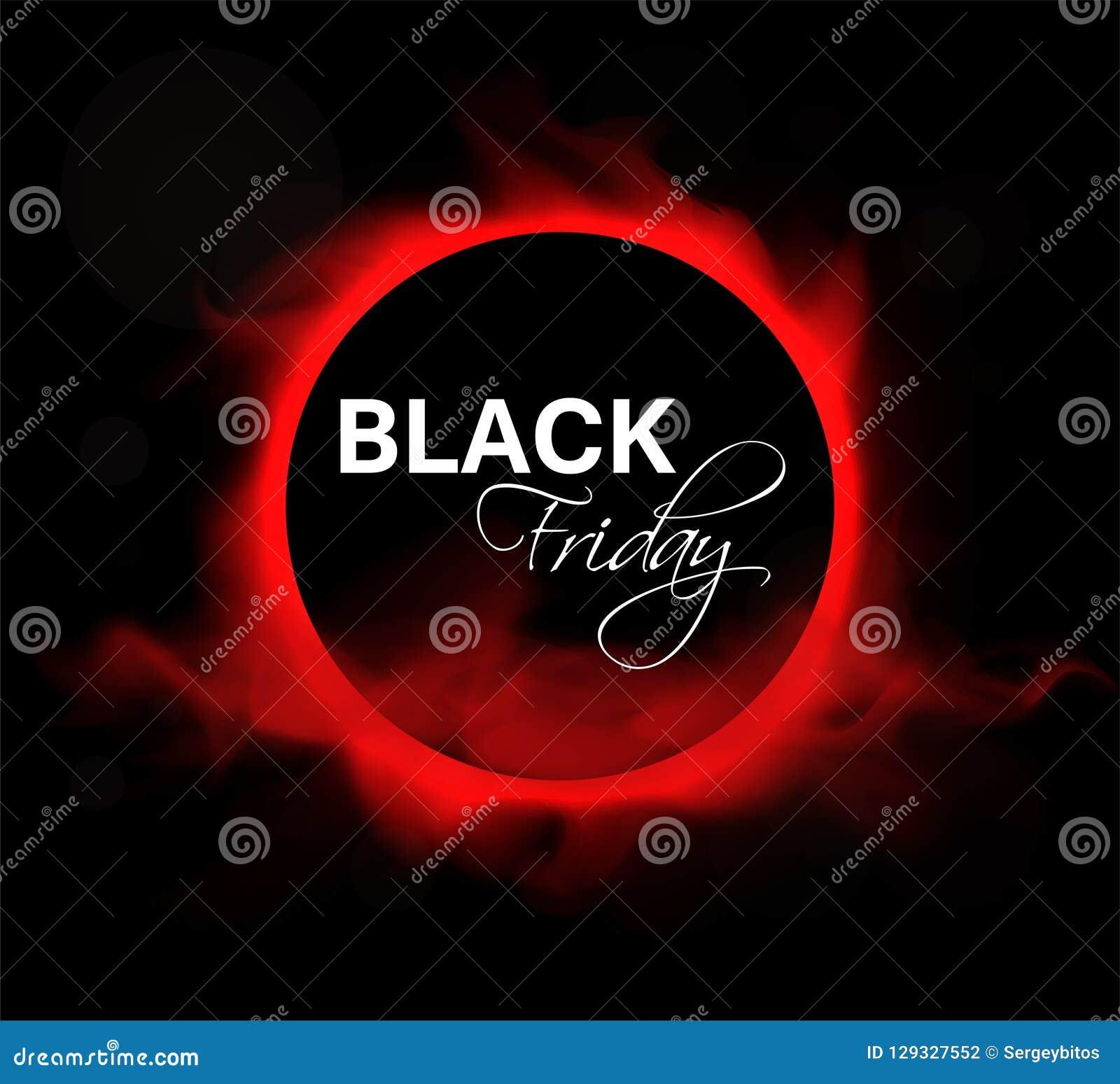 eff1517f9 Fundo preto da disposição da venda de sexta-feira Círculo preto com uma  inscrição e um fulgor vermelho no fumo vermelho Bandeira do vetor