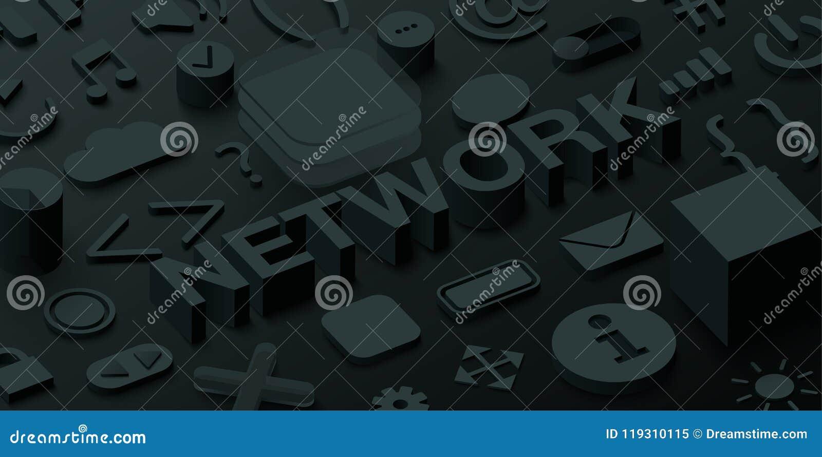 Fundo preto da rede 3d com símbolos da Web do ui