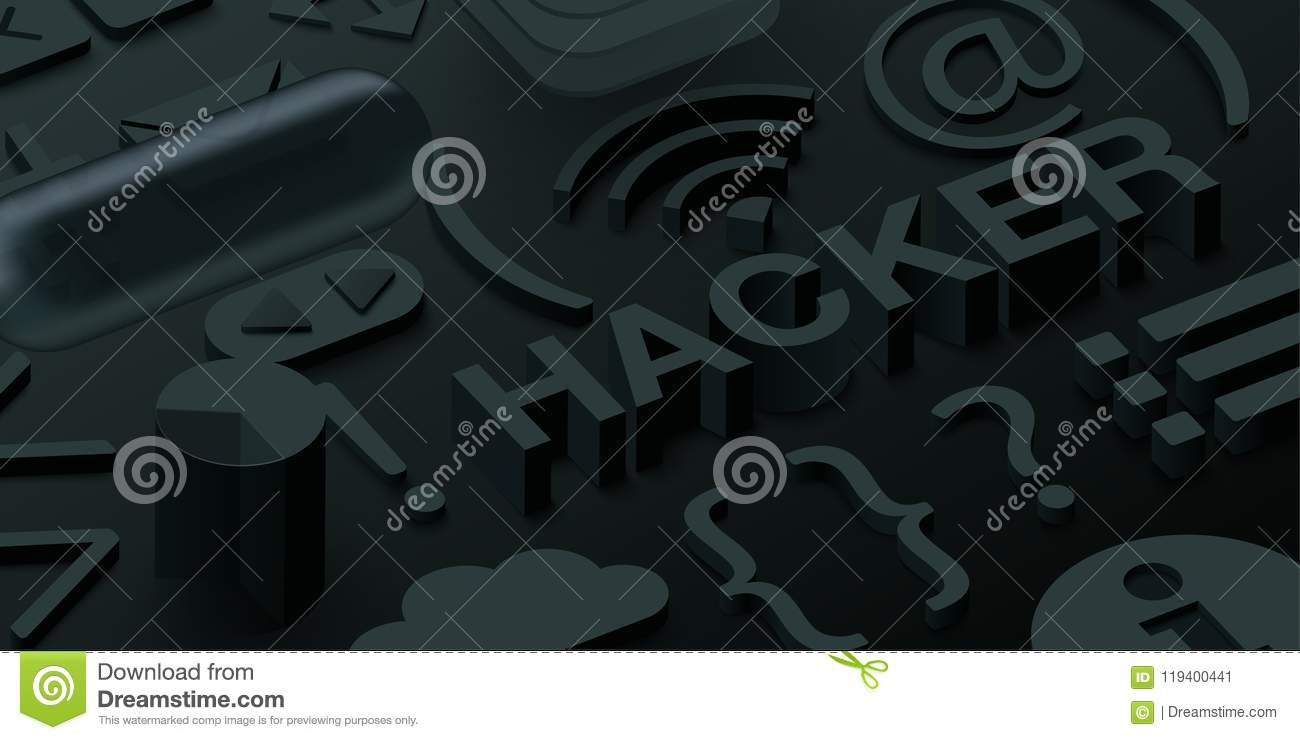 Fundo preto do hacker 3d com símbolos da Web